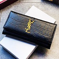 YSL Fashion New Leather Wallet Purse Clutch Bag Black