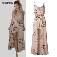 Heyouthoney 2017 New Boho Floral Print Camisole Women Playsuits Khaki Rompers maxi Summer Beach Sexy Jumpsuit Vestido Overalls