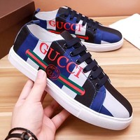 GUCCI Fashion Men Casual White/Black/Blue Matching Color Low Top Sport Shoe Lace Up Sneakers I-OMDP-GD