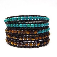 Brown Leather and Turquoise and Yellow Tiger Eye Jewelry   Chan Luu Style Wrap Bracelet