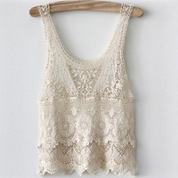 2013 New Women Sexy Vintage Sleeveless Embroidery Floral Lace Crochet Tank Top blouse Free Shipping