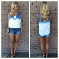 Indigo Ombre Open Sleeveless Top