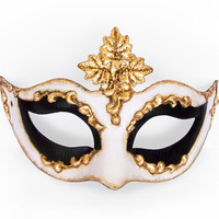 Black, White And Gold Masquerade Mask In Antique Look -  Classical Venetian Mask With Metallic Gold Baroque Swirls