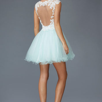 G2045 Lace Cap Sleeve Homecoming Cocktail Dress