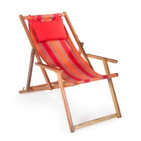 Sunrise Stripe Beach Chair Reclining Lounger with Coordinating Pillows