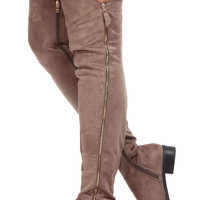 Cocoa Faux Suede Thigh Zipper Accent Riding Boots