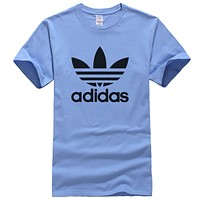ADIDAS Trending Casual Print Sports T-Shirt Top Tee Blue