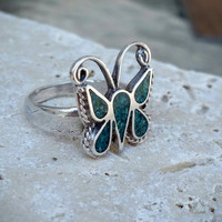Vintage Sterling Silver Old Paw Inlaid Turqoise Butterfly Ring, Size 6 1/2 - Boho Chic / Stylish / Retro