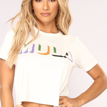 Get Me My Mula Crop Top - White