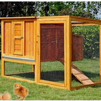 Pawhut 64 in. Chicken Coop Hen House with Nesting Box and Outdoor Run | www.hayneedle.com
