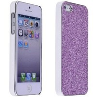 Shine Purple Glitter Bling Crytal Chrome Hard Back Case Cover for Apple iPhone 5