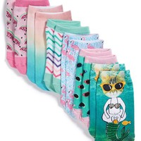 Girl's Tucker + Tate Sublimation Print Low Cut Socks (6-Pack)