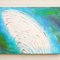 Original Large XL Abstract Art Painting Blue Green White Wing Acrylic on Stretched Canvas Frame