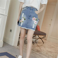 The new summer 2016 fashion Embroidery flower cowboy bust sexy hip skirt
