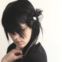Gothic Hair Clip with Guns and Roses cameo