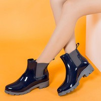 Ladies Platform Rain Boots Ankle Boots Low Heels