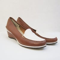 50s Shoes Vintage Two Tone Wedge Loafers 7 7.5 Haymakers