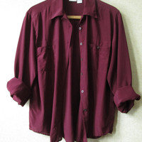 Silk Blouse Marsala Burgundy Vintage 90s long sleeve shirt tunic top button front patch pockets solid wine color womens large hasting smith