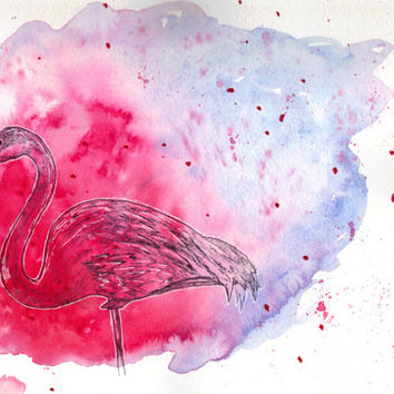 Pink Flamingo Mixed Media 8x10 Art Print Watercolor Painting Ink Drawing Wall Art Decor Birds Art