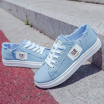 Canvas shoes Spring Fashion Sneakers Solid Sewing Women Denim Shoe