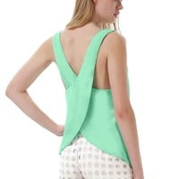 Sheinside® Women's Green Criss Cross Chiffon Vest