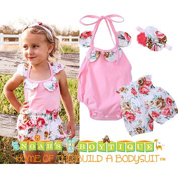 Baby Girl Pink and Floral Romper with Bubble Shorts and Headband Set