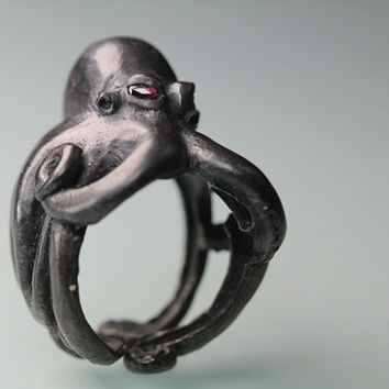 Octopus ring Sterling black silver red ruby eyes  by billyblue22