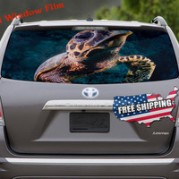 Big Sea Turtle Leatherback Decal Full Color Print Perforated Film Truck SUV Back Window Sticker Perf019