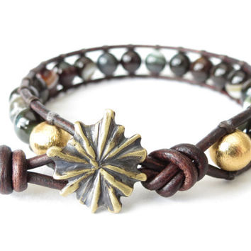 Leather wrap bracelet with Madagascar striped agate and gold plated solid fine silver beads and handcrafted flower button
