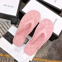 LV GUCCI New couple style slippers 7 colors leisure and comfortable beach slippers flip flops Pink