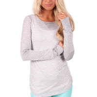 White and Grey Striped Top with Elbow Patches