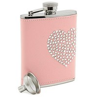 Glitz and Glamor Pink Leather Flask