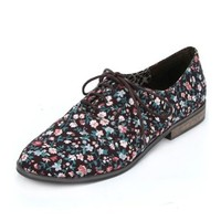 ZLYC Vintage Floral Ladies Low Heel Lace Up Shoes