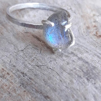 Labradorite and Sterling Silver Crescent Moon Ring - Moon Phase Ring - Hammered Silver Ring - Gaia's Candy - Stacking Ring - Boho Ring