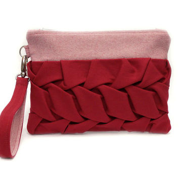 Red Wristlet Purse, Pleated Clutch Bag, Smocked Bag, Wristlet Mini Purse, Red Clutch Bag,Bridesmaid Purse,Small Clutch Purse,Red Pleated Bag