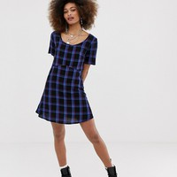 COLLUSION tie back check smock dress | ASOS
