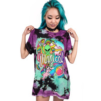 The Alien Unicorn Crystal ball 3D Printed Women Tops Tees Loose Casual O-neck Long T shirts Soft Polyester/Spandex Fashion Blusa