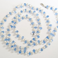 Blue Crystal Pearl Necklace Lovely LONG 40 inches Vintage