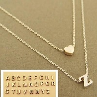 Fashion Love 26 Simple English Letter Necklace Creative Baitao Peach Heart Short Clavicle Chain Double Layer Peach Heart Combination Letter Pendant Necklace
