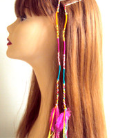 Feather Hair Pin Braided Bohemian Colorful Bobby Pins with Feathers Set of 2 Hair Pins Hippie Style Festival Accessories Hair Accessories