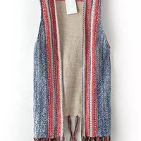 Light Blue Red Cutout Sleeveless Fringed Knit Sweater Vest