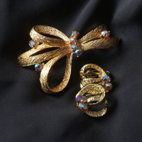 Vintage Pin and Earring Set with Rhinestones, Gold Tone Jewelry Set with Aurora-borealis Rhinestones Brooch and Clip Earrings