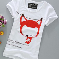 Cartoon Print Short Sleeve Graphic Tee