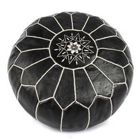 BLACK & WHITE LEATHER POUF