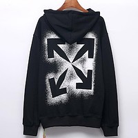 Off White Autumn And Winter New Fashion Letter Arrow Print Women Men Long Sleeve Top Sweater Black