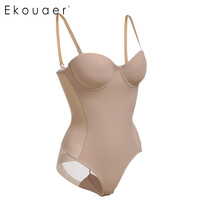 Ekouaer Sexy Hot Bra Body Shaper Women Body Shaper 1/2 Cup Padded Undwire push up Bra Underbust Tummy Slim Corset Bodysuit
