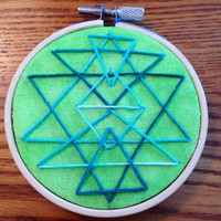 """Blue and Green Triangular Patterned 3"""" Embriodered Ornament"""