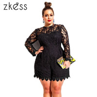 ZKESS Black Plus Size Long Sleeve Lace Romper 60599