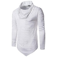 Brand High Quality 2017 Autumn Winter Men Muscle Long Sleeve Soild Cotton T Shirt Casual Tops Shirts Social Plus Size Blusas