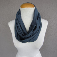 Grey Blue Infinity Scarf - Steel Blue Cowl - Soft Jersey Circle Scarf